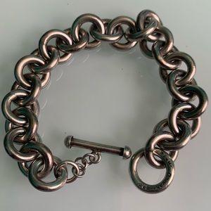 Vintage Sterling round link heavy toggle bracelet